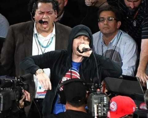 Eminem Introduce The Pistons At Their New Arena In Detroit