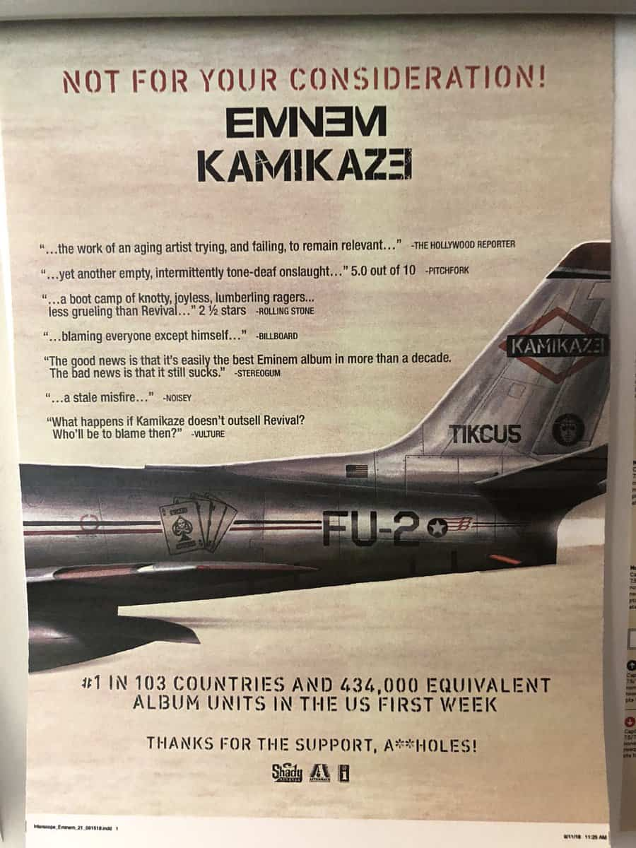 Thanks For The Support, Aholes Eminem Mocks Critics in New 'Kamikaze' Ad