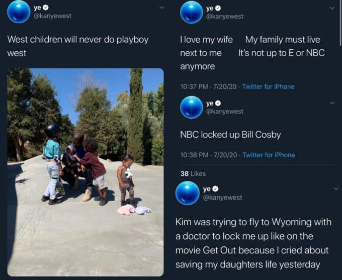 Pop Base On Twitter Kanye West Claims Kris Jenner Kim Kardashian Are Trying To Lock Him Up With A Doctor And Claims The Movie Get Out Is About Him In New